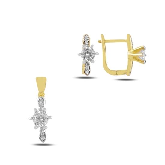 Ürün resmi: Tektaş Zirkon Taşlı Gümüş Bayan Set