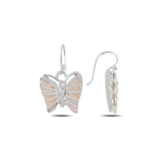 Ürün resmi: Kelebek Opal Taşlı Gümüş Sallantılı Küpe