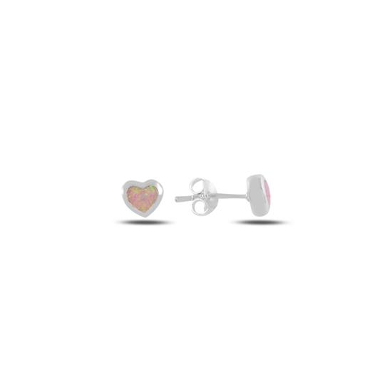 Ürün resmi: Kalp Opal Taşlı Gümüş Küpe