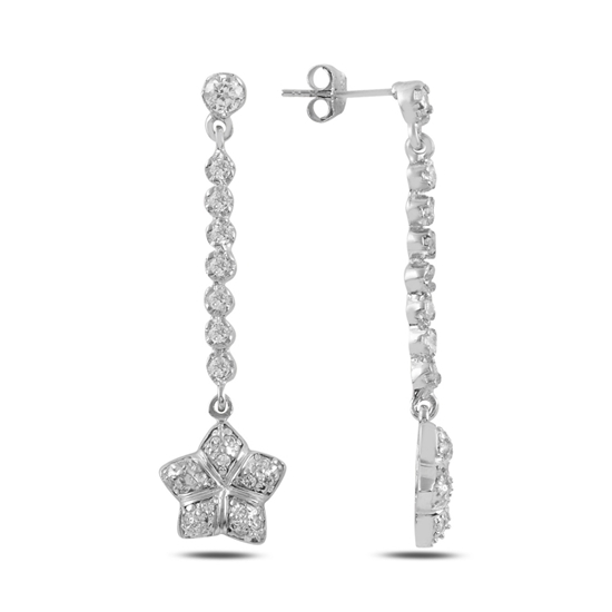 Ürün resmi: Zirkon Taşlı Gümüş Sallantılı Küpe