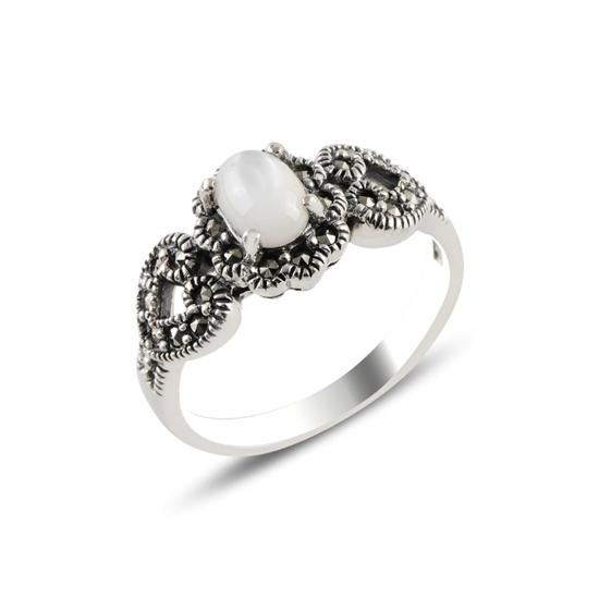 Ürün resmi: Markazit & Sedef Taşlı Gümüş Bayan Yüzük