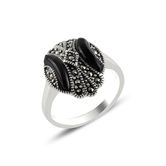 Ürün resmi: Markazit & Oniks Taşlı Gümüş Bayan Yüzük