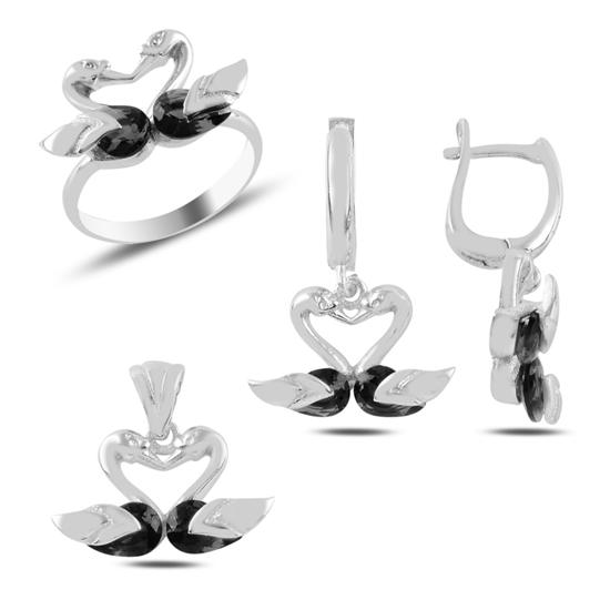 Ürün resmi: Kuğu Zirkon Taşlı Gümüş Bayan Set