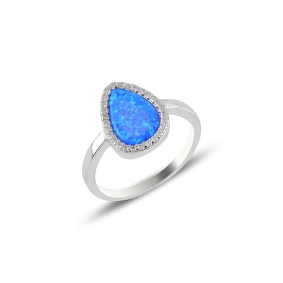Ürün resmi: Opal & Zirkon Taşlı Gümüş Bayan Yüzük