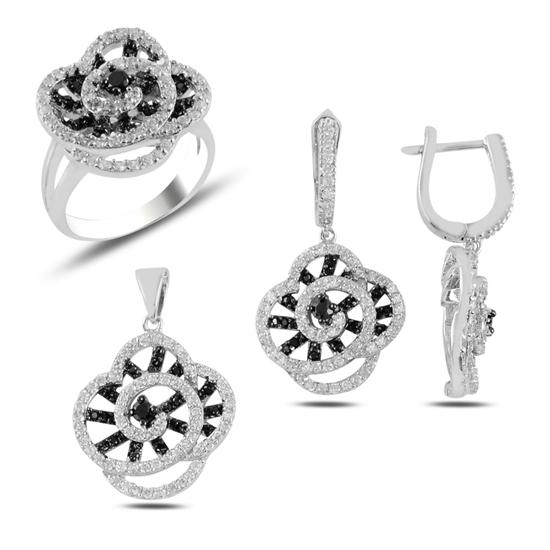 Ürün resmi: Siyah Beyaz Zirkon Taşlı Çiçek Gümüş Bayan Set