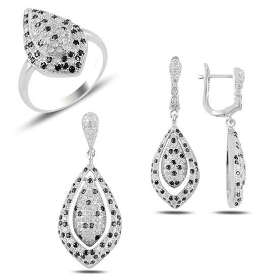 Ürün resmi: Siyah Beyaz Zirkon Taşlı Gümüş Bayan Set
