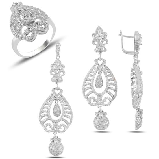 Ürün resmi: Zirkon Taşlı Sallantılı Gümüş Bayan Set
