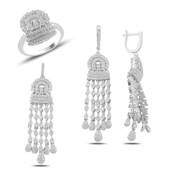 Ürün resmi: Zirkon Taşlı Püsküllü Gümüş Bayan Set