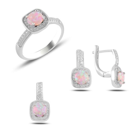Ürün resmi: Opal & Zirkon Taşlı Gümüş Bayan Set