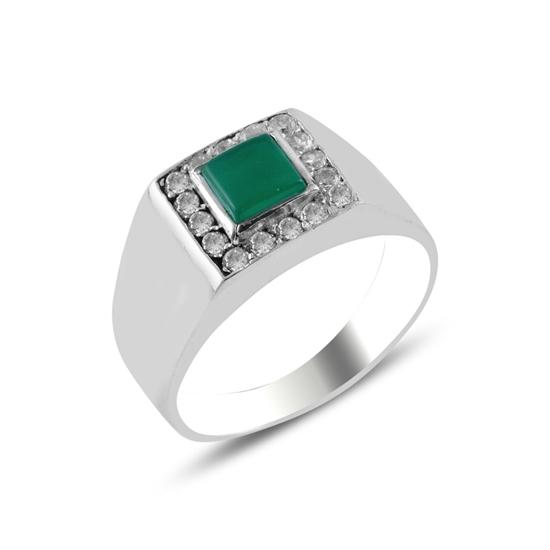 Ürün resmi: Yeşil Akik & Zirkon Taşlı Gümüş Erkek Yüzük