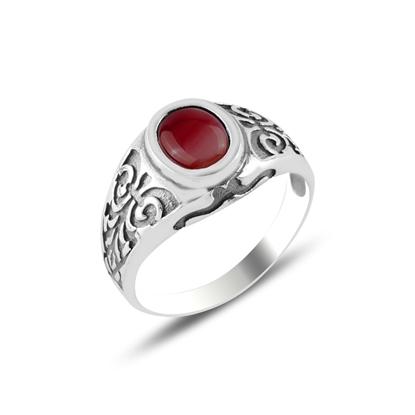 Resim Kırmızı Akik Taşlı Gümüş Erkek Yüzük