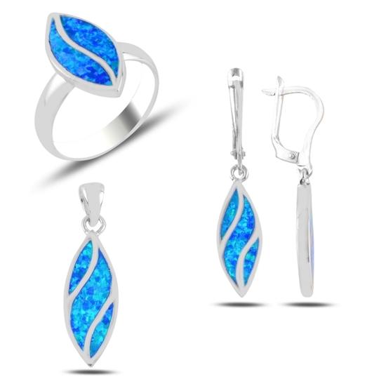 Ürün resmi: Opal Taşlı Mekik Gümüş Bayan Set