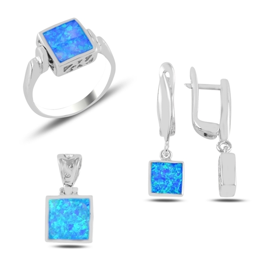 Ürün resmi: Opal Taşlı Kare Gümüş Bayan Set