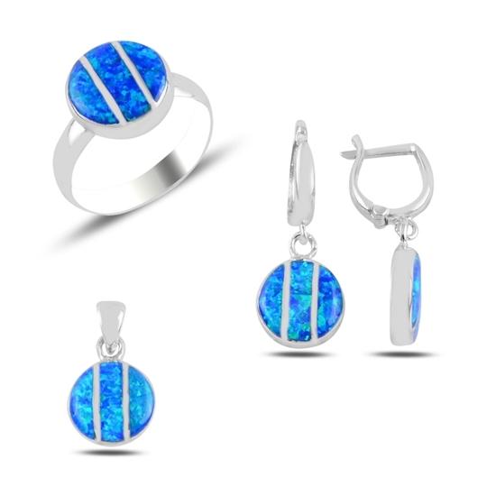 Ürün resmi: Opal Taşlı Yuvarlak Gümüş Bayan Set