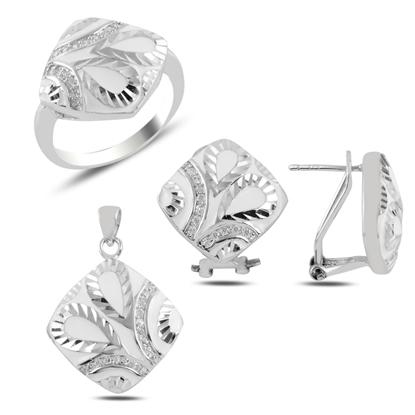 Resim Mineli Gümüş Bayan Set