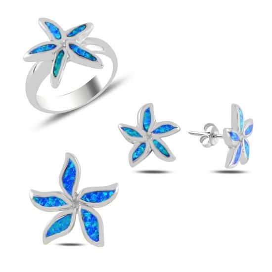 Ürün resmi: Çiçek Opal Taşlı Gümüş Bayan Set