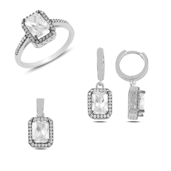 Ürün resmi: Zirkon Taşlı Gümüş Bayan Set
