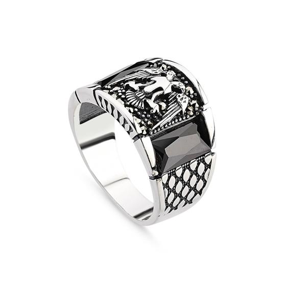Ürün resmi: Zirkon & Markazit Taşlı Gümüş Erkek Yüzük
