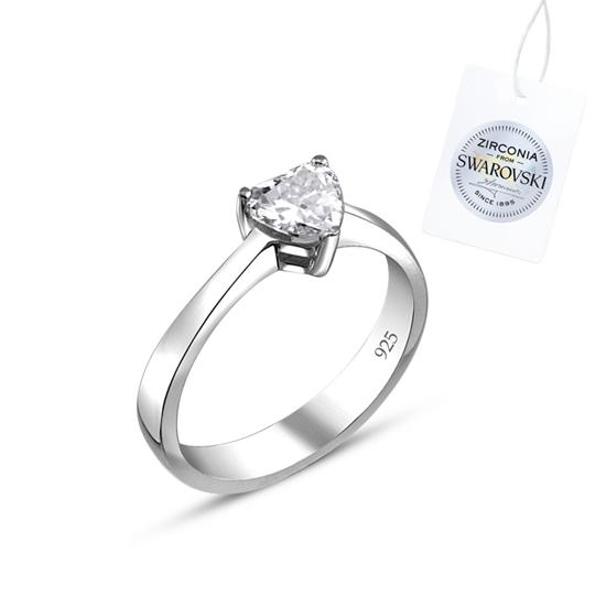 Ürün resmi: Swarovski Zirkon Taşlı Kalp Tektaş Gümüş Bayan Yüzük