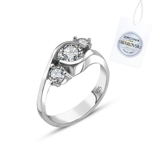 Ürün resmi: Swarovski Zirkon Taşlı Üçtaş Gümüş Bayan Yüzük