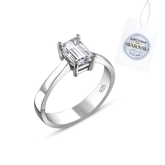 Ürün resmi: Swarovski Zirkon Taşlı Baget Tektaş Gümüş Bayan Yüzük