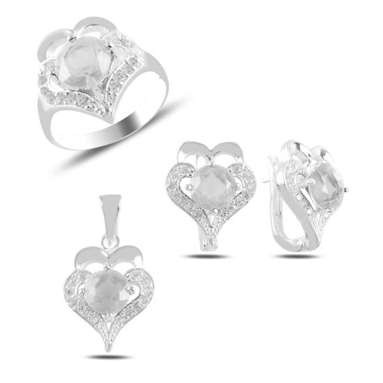 Ürün resmi: Beyaz Zirkon Taşlı Gümüş Bayan Set