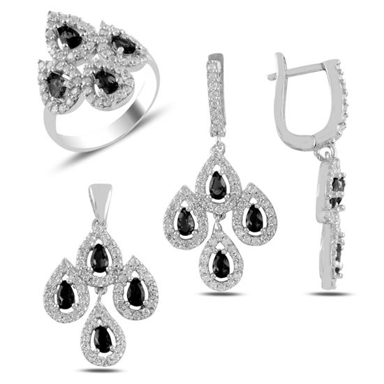 Ürün resmi: Siyah Zirkon Taşlı Gümüş Bayan Set