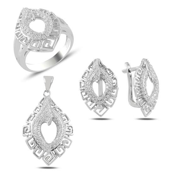 Ürün resmi: Grek Desenli Zirkon Taşlı Gümüş Bayan Set