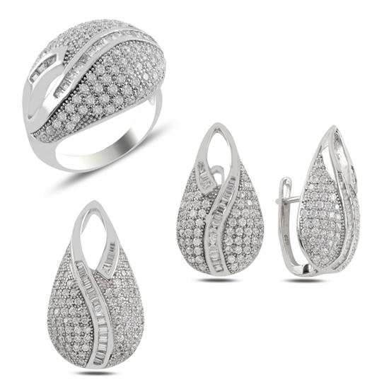 Ürün resmi: Baget Zirkon Taşlı Gümüş Bayan Set
