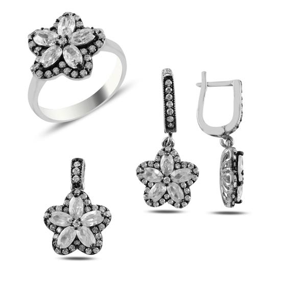Ürün resmi: Çiçek Baget Zirkon Taşlı Gümüş Bayan Set