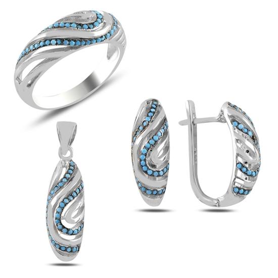Ürün resmi: Nano Turkuaz Zirkon Taşlı Gümüş Bayan Set