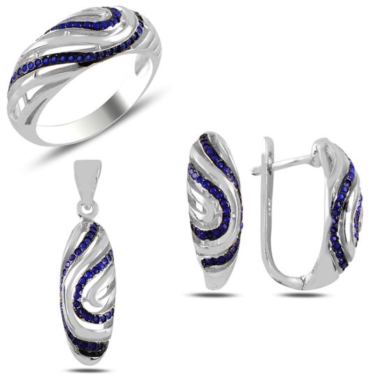 Ürün resmi: Safir Zirkon Taşlı Gümüş Bayan Set
