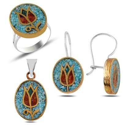 Resim Mercan & Turkuaz Taşlı Mozaik Lale Gümüş Bayan Set