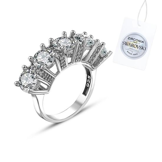 Ürün resmi: Swarovski Zirkon Taşlı Beştaş Gümüş Bayan Yüzük
