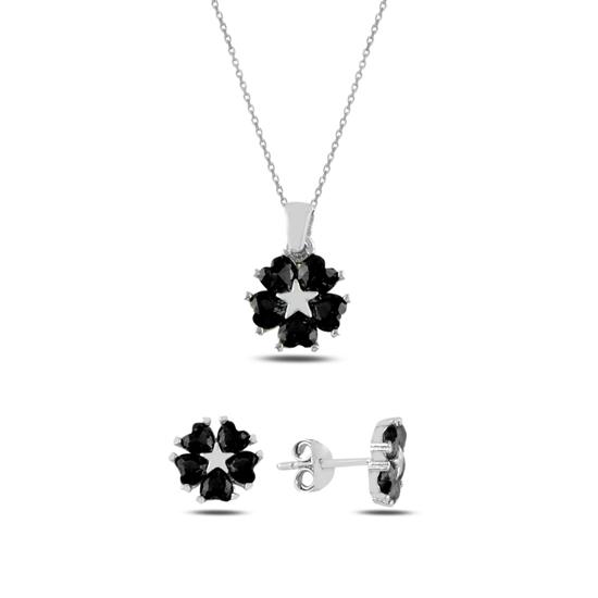 Ürün resmi: Siyah Zirkon Kalp Zirkon Taşlı Çiçek & Yıldız Gümüş Bayan Set