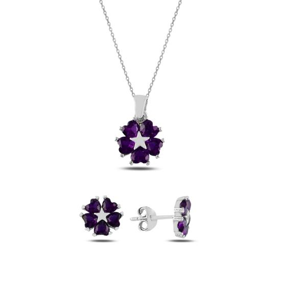Ürün resmi: Ametist Zirkon (Mor) Kalp Zirkon Taşlı Çiçek & Yıldız Gümüş Bayan Set
