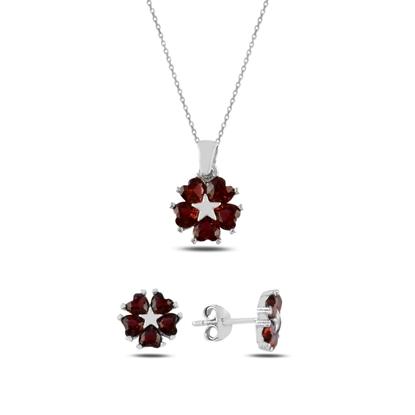 Resim Garnet Zirkon (Kırmızı) Kalp Zirkon Taşlı Çiçek & Yıldız Gümüş Bayan Set