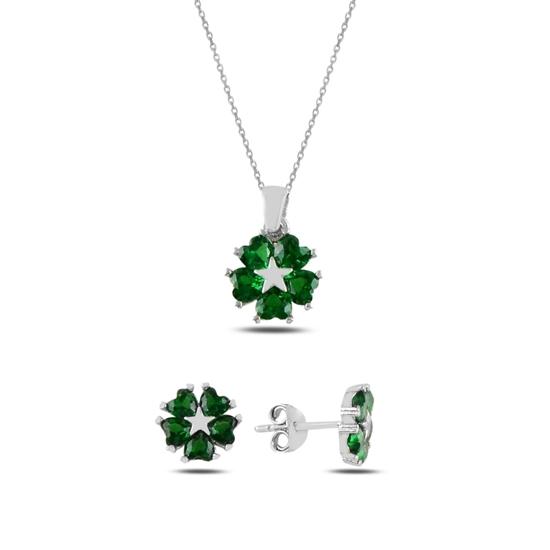 Ürün resmi: Zümrüt Zirkon (Yeşil) Kalp Zirkon Taşlı Çiçek & Yıldız Gümüş Bayan Set