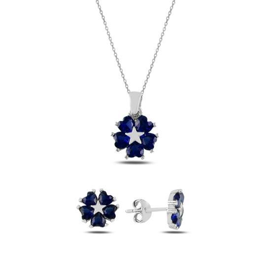 Ürün resmi: Safir Zirkon (Lacivert) Kalp Zirkon Taşlı Çiçek & Yıldız Gümüş Bayan Set