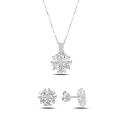 Resim Rodyum Kaplama Kalp Zirkon Taşlı Çiçek & Yıldız Gümüş Bayan Set
