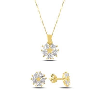 Resim Altın Kaplama Kalp Zirkon Taşlı Çiçek & Yıldız Gümüş Bayan Set