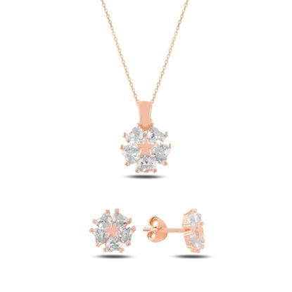 Resim Rose Kaplama Kalp Zirkon Taşlı Çiçek & Yıldız Gümüş Bayan Set