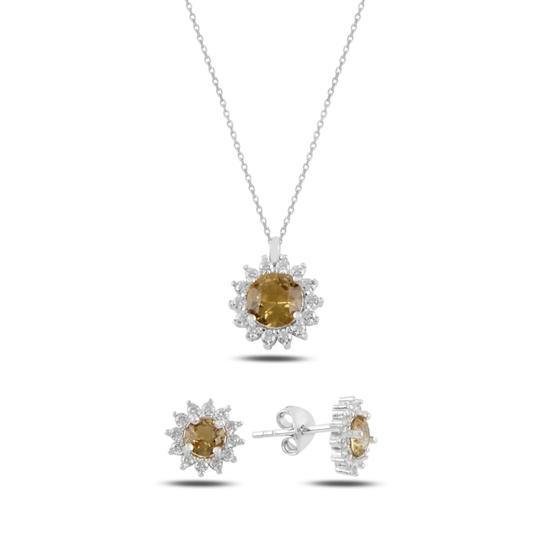 Ürün resmi: Rodyum Kaplama Halo Tektaş Zultanit & Zirkon Taşlı Gümüş Bayan Set