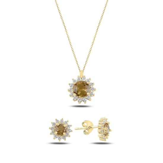 Ürün resmi: Altın Kaplama Halo Tektaş Zultanit & Zirkon Taşlı Gümüş Bayan Set