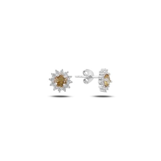 Ürün resmi: Rodyum Kaplama Halo Tektaş Zultanit & Zirkon Taşlı Gümüş Küpe