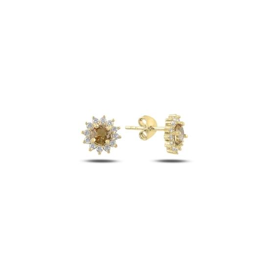 Ürün resmi: Altın Kaplama Halo Tektaş Zultanit & Zirkon Taşlı Gümüş Küpe