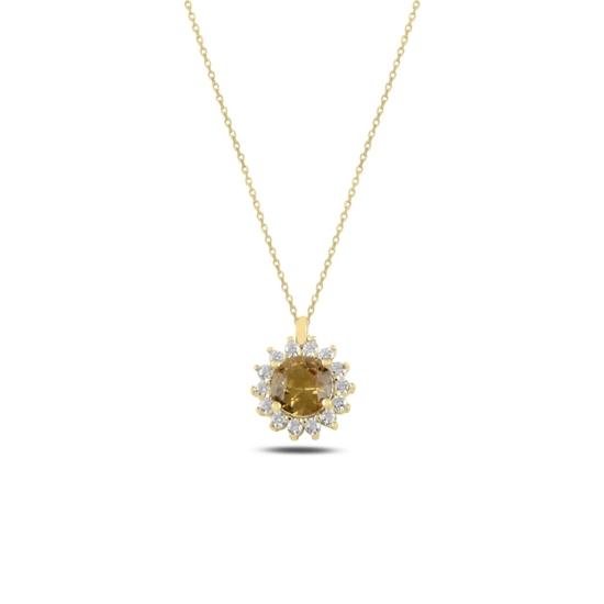 Ürün resmi: Altın Kaplama Tektaş Zultanit & Zirkon Taşlı Gümüş Bayan Kolye