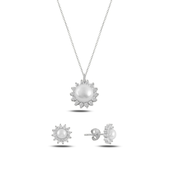 Ürün resmi: Rodyum Kaplama Tektaş İnci & Zirkon Taşlı Gümüş Bayan Set