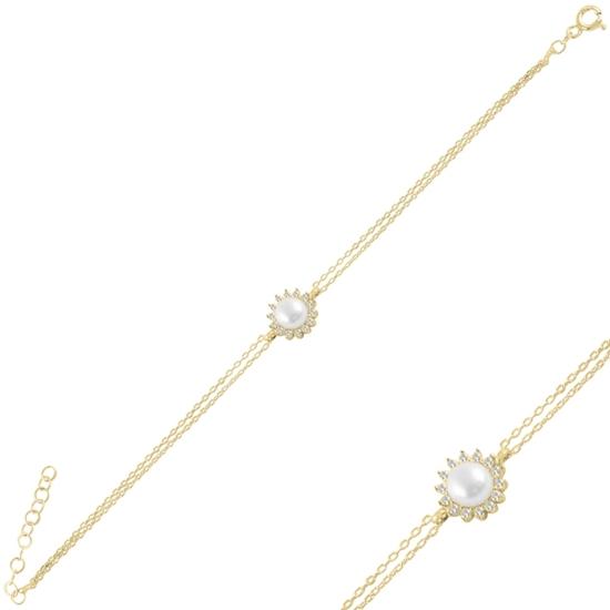 Ürün resmi: Altın Kaplama Tektaş İnci & Zirkon Taşlı Gümüş Bayan Bileklik