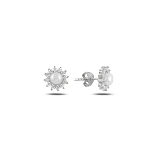 Ürün resmi: Rodyum Kaplama Tektaş İnci & Zirkon Taşlı Gümüş Küpe
